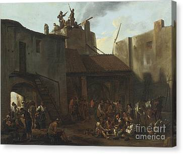 Roman Lime Kiln With Peasants Gambling Canvas Print by Celestial Images