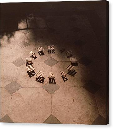 Light And Dark Canvas Print - Roman Numerals On Floor by Elspeth Ross