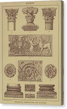 Roman, Ornamental Architecture And Sculpture Canvas Print by German School