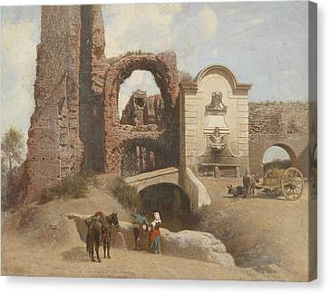 Fearnley Canvas Print - Roman Street Scene With Ruins by Thomas Fearnley