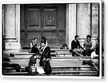 Roman Study Break Canvas Print by John Rizzuto