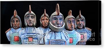 Canvas Print featuring the photograph Roman Warriors - Bust Sculpture - Roemer - Romeinen - Antichi Romani - Romains - Romarere by Urft Valley Art