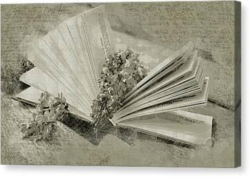 Romance In A Book Canvas Print by Georgiana Romanovna
