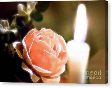 Canvas Print featuring the digital art Romance In A Peach Rose by Linda Phelps