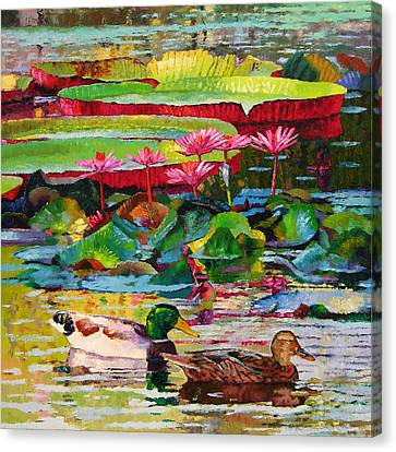 Romancing Among The Lilies Canvas Print by John Lautermilch