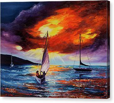 Canvas Print featuring the painting Romancing The Sail by Darice Machel McGuire