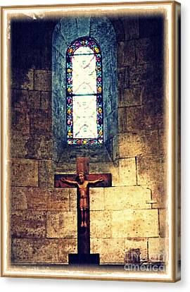 Crucifix Art Canvas Print - Romanesque Langon Chapel by Sarah Loft