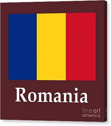 Romania Flag And Name Canvas Print by Frederick Holiday