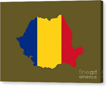 Romania Flag Map Canvas Print by Frederick Holiday
