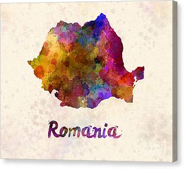 Romania In Watercolor Canvas Print by Pablo Romero