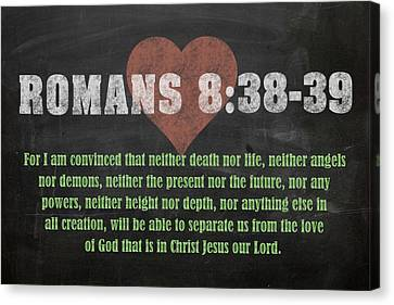 Romans 8 38-39 Inspirational Quote Bible Verses On Chalkboard Art Canvas Print