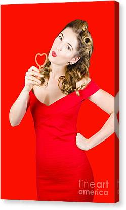 Passionate Lovers Canvas Print - Romantic Blond Pin-up Lady Blowing Party Bubbles by Jorgo Photography - Wall Art Gallery