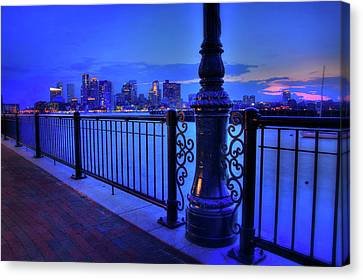 Canvas Print featuring the photograph Romantic Boston - Boston Skyline At Night by Joann Vitali