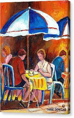 Romantic Brunch Rue St Denis Paris Style Cafe Paintings Original Quebec Art Carole Spandau    Canvas Print by Carole Spandau