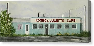Romantic Cafe Canvas Print