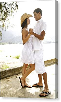 Romantic Couple In White Canvas Print by Kicka Witte - Printscapes