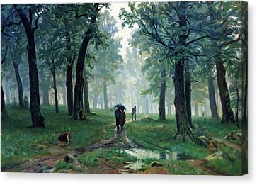 Romantic Forest Walk In The Rain Canvas Print