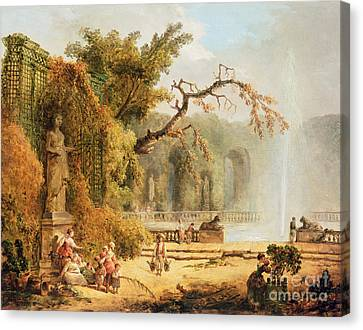 Romantic Garden Scene Canvas Print by Hubert Robert