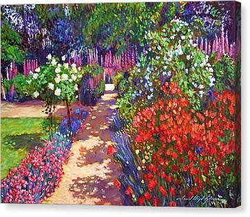 Romantic Garden Walk Canvas Print by David Lloyd Glover