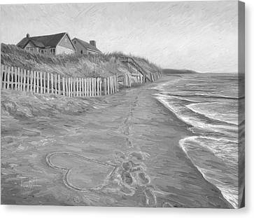 Cape Cod Scenery Canvas Print - Romantic Getaway - Black And White by Lucie Bilodeau