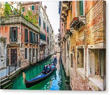 Romantic Gondola Scene On Canal In Venice Canvas Print