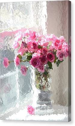 Romantic Impressionistic Pink Roses - French Roses In Vase Shabby Chic Cottage Pink Floral Art Canvas Print by Kathy Fornal