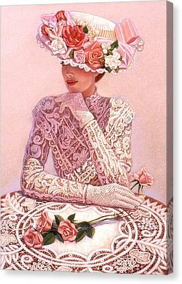 Hat Canvas Print - Romantic Lady by Sue Halstenberg