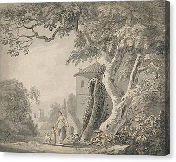 Landscape With Figure Canvas Print - Romantic Landscape With Figures And A Dog by Paul Sandby