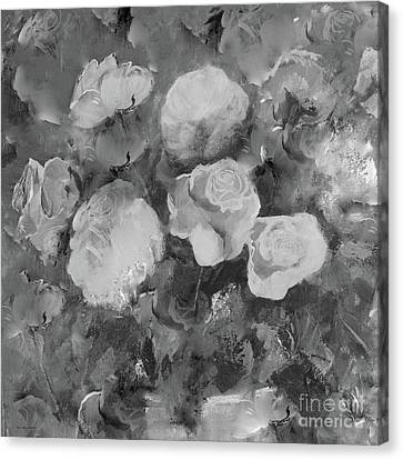 Canvas Print featuring the painting Romantic Large Roses  by Robin Maria Pedrero