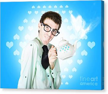 Romantic Male Dork Offering Coffee Love To Date Canvas Print by Jorgo Photography - Wall Art Gallery