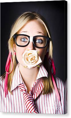 Romantic Nerd Flower Girl With Expression Of Love Canvas Print