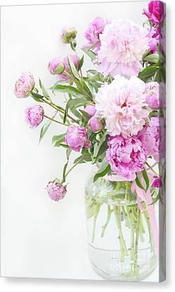 Romantic Pastel Summer Garden Pink Peonies In Jar - Romantic Shabby Pink Peonies Summer Garden Decor Canvas Print