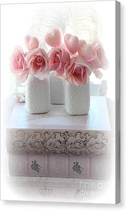 Romantic Pink Shabby Chic Roses Pink Books Hearts Valentine Decor  Canvas Print by Kathy Fornal