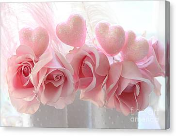 Romantic Pink Shabby Chic Valentine Hearts And Roses - Valentine Roses Pink And White Hearts Decor Canvas Print by Kathy Fornal