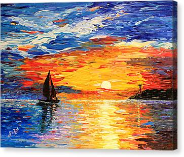 Canvas Print - Romantic Sea Sunset by Georgeta  Blanaru