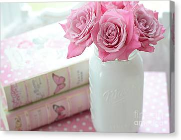Romantic Shabby Chic Pink And White Roses - Pink Roses In White Mason Jar Canvas Print by Kathy Fornal