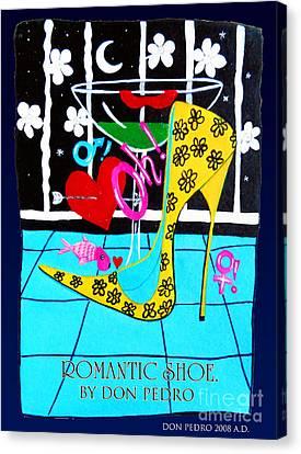 Canvas Print featuring the painting Romantic Shoe by Don Pedro De Gracia