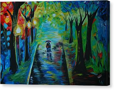 Canvas Print featuring the painting Romantic Stroll by Leslie Allen
