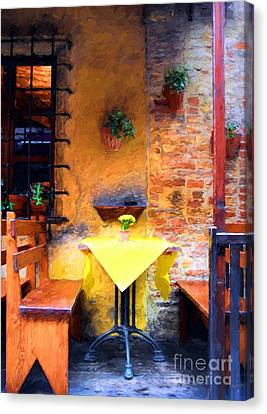 Romantic Table For Two  Canvas Print by Mel Steinhauer