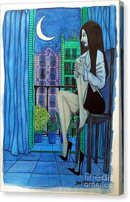 Canvas Print featuring the painting Romantic Woman At Balcony by Don Pedro De Gracia