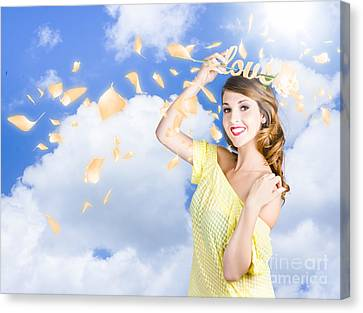 Romantic Woman Dreaming Of A Sky Filled Romance Canvas Print