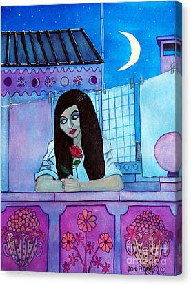 Romantic Woman In The Terrace At Night Canvas Print