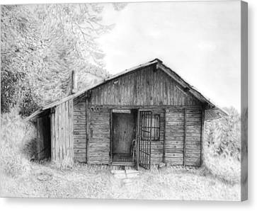 Painted Details Canvas Print - Romantic Wooden Cabin In Mountain Landscape Beautiful Detailed Monochromatic Pencil Drawing by Jozef Klopacka