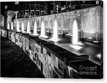 Romare Bearden Park Fountain Black And White Photo Canvas Print by Paul Velgos