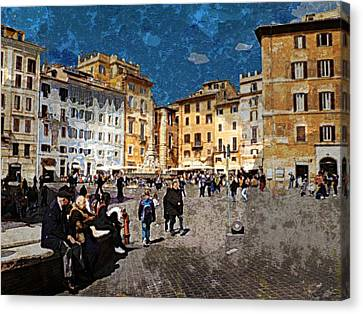 Rome - Piazza Della Rotunda Canvas Print by Jen White