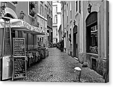 Rome Alley In Black And White Canvas Print