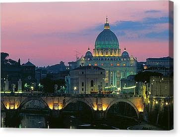 Rome At Night With A View Of Saint Peters Basilica Canvas Print by Italian School