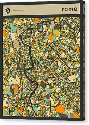Rome City Map Canvas Print