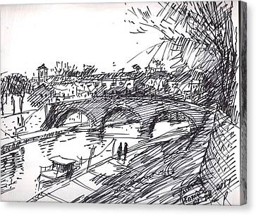 Bridge At Isola Tiberina Rome Sketch Canvas Print by Ylli Haruni