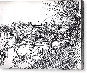 Bridge At Isola Tiberina Rome Sketch Canvas Print